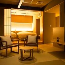 【NISHI】畳を敷いたリビングとベッドルームが別れた50平米の和洋室。