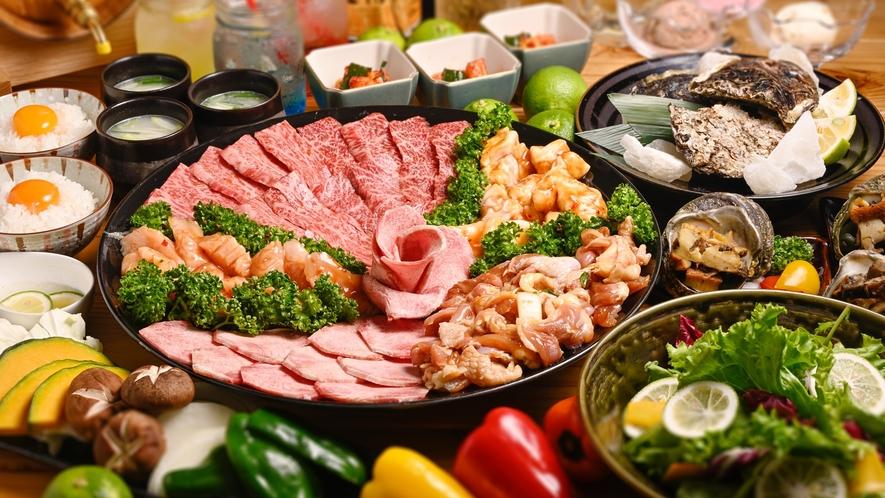 【夕食一例】おおいた和牛&おおいた冠地鶏コース
