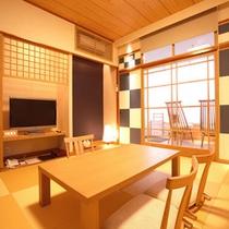 桜島を望むモダン和室【足湯付き8畳】