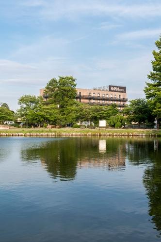 湖面に映るハナホテル♪