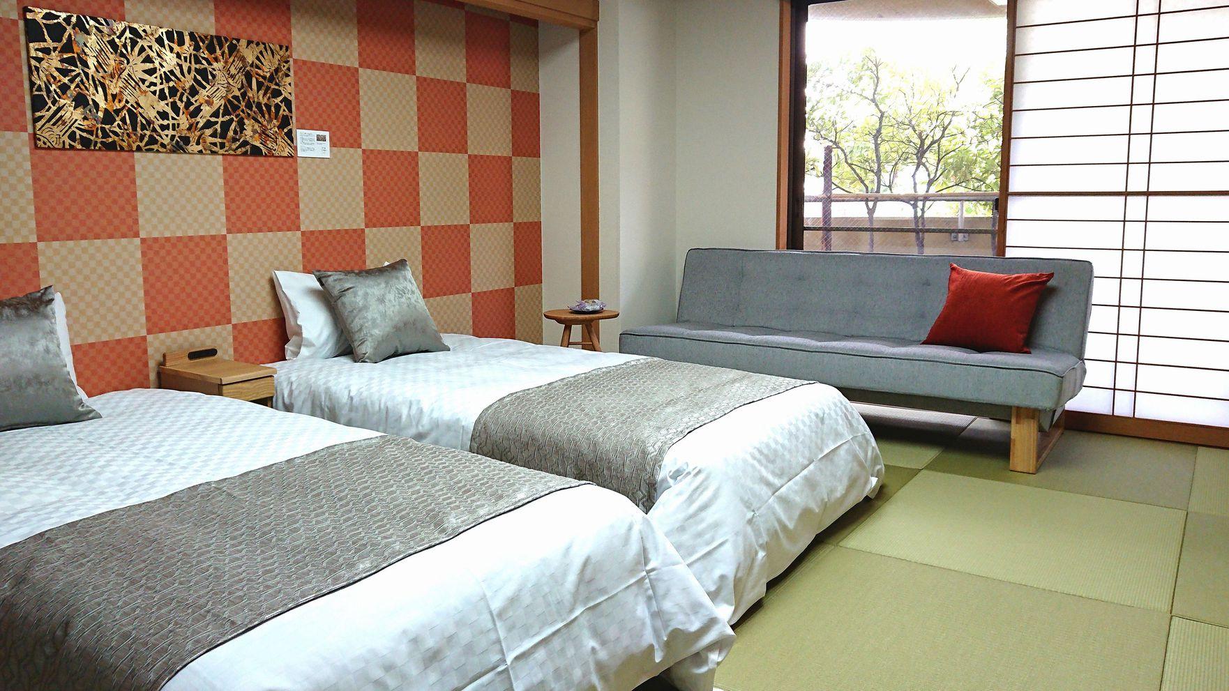 一般客室和室ベッドイメージ♪和室にツインベッドのご準備となっております。
