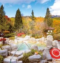 秋空を仰ぐ庭園露天風呂