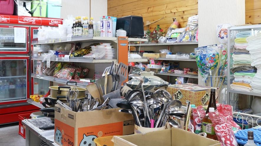 *[売店(管理棟)]調理器具はレンタル(有料)、食器類は、使い捨てを購入可能