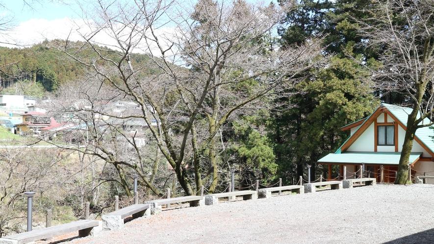 *【施設】敷地内の広場。すぐ近くに秋川渓谷の風景が広がります。