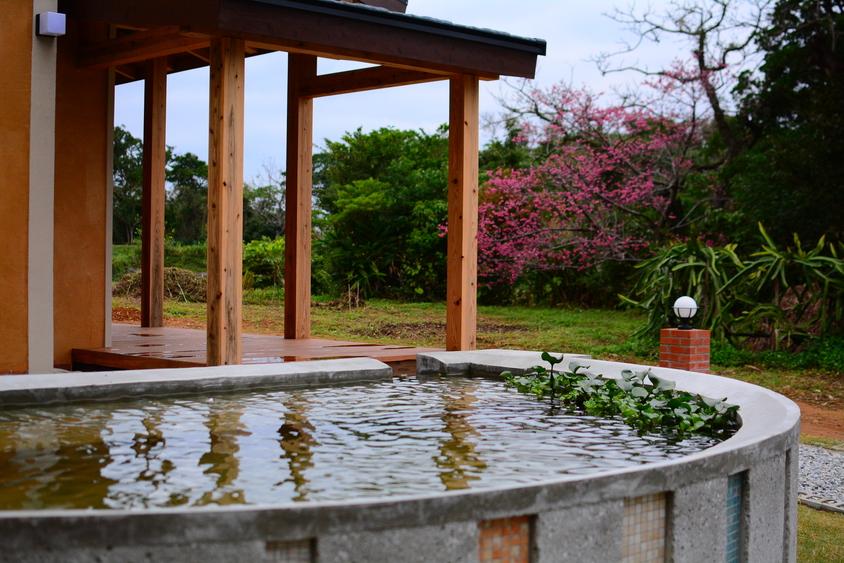 泉原ハウスには、雨水循環用の池があります。