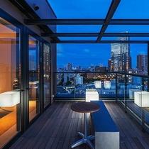 ペントハウスのテラスからは、東京の景色が一望できます。