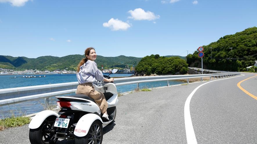 【カムカムレンタルサービス】3輪バイクのトライクで淡路島をツーリング。アメリカンタイプも有(徒歩4分