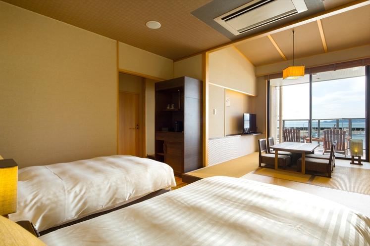 【別邸】半露天風呂&テラス付き和洋室(ベッド3)