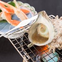 *【夕食一例】「竹」(カニ・サザエ)大人気!身がふっくらとした蟹と・定番のサザエ磯焼きセット♪