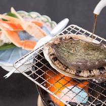 *【夕食一例】「松」(カニ・アワビ)鮑の踊焼をお好みの醤油加減で・産地直送の蟹との贅沢セット。