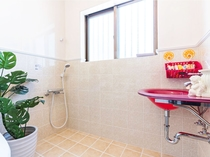 【バスルーム】バスタブがない分、広いシャワースペースを確保しております。