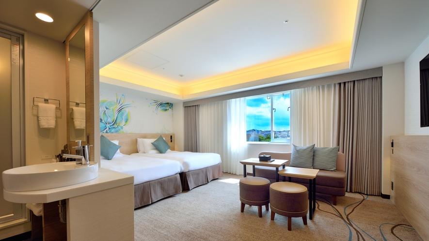【デラックスツイン34㎡】ゆったりとしたお部屋はファミリーやグループ利用に最適です。