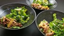 お食事_自家栽培の野菜たっぷり!川俣シャモ・麓山高原豚・馬肉からメイン料理をお選びください♪
