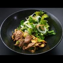 「いのししの味噌焼き」猟師のご主人が採ってきた猪肉と自家製野菜のコラボ!