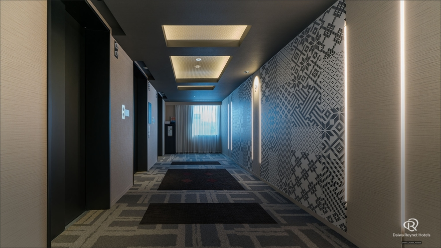 客室階エレベーター前