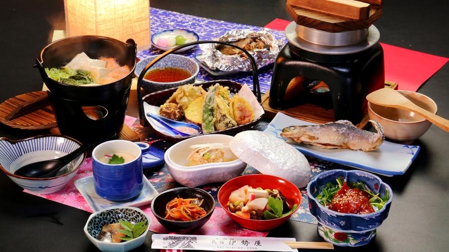 【冬の夕食コース一例】冬はなんといっても地元産ニジマスの鍋!