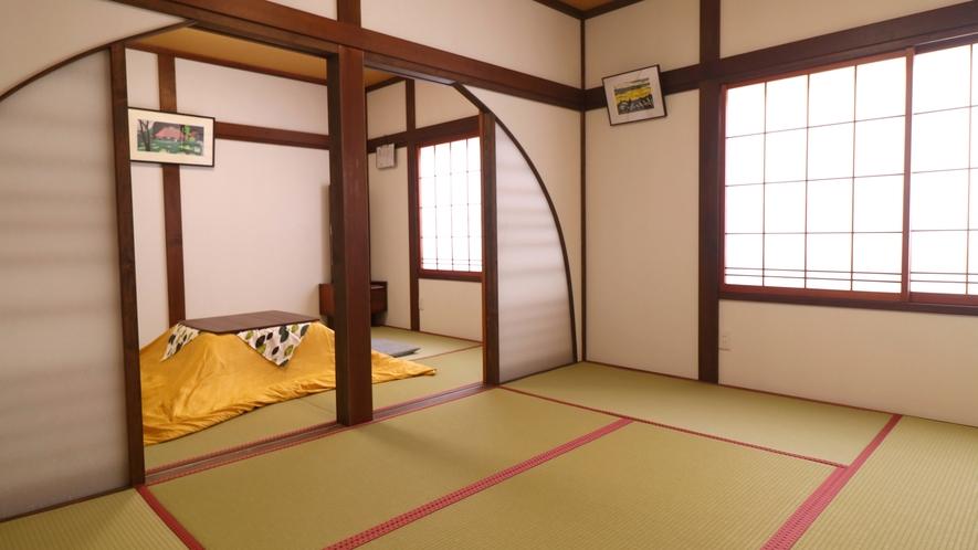 【広々和室12畳】冬はこたつをご用意いたします。
