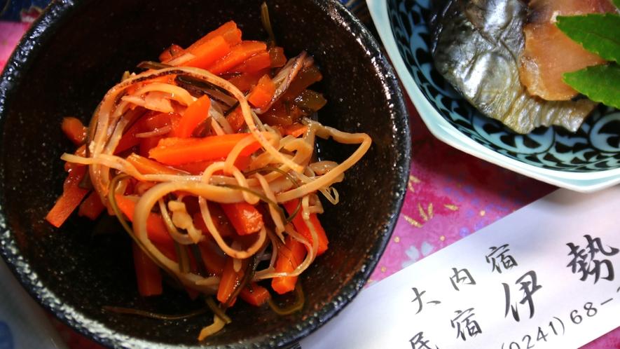 【夕食】会津民のソウルフードとも言える『いか人参』や『ニシンの山椒漬け』なども定番メニュー