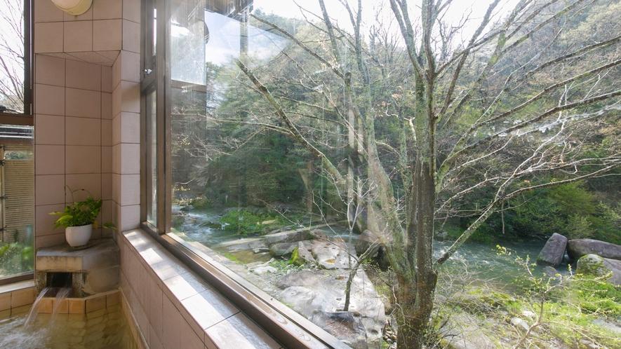お風呂からは宿の前を流れる川を望めます。