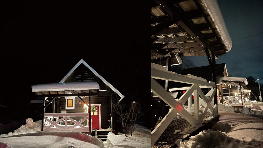 【赤&青ログ】雪景色が良く似合うログハウス。