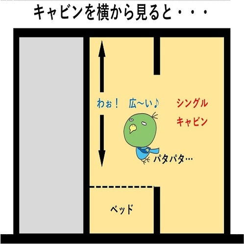◆シングルキャビンは、ベッドの上に上段キャビンが無いので、高さがとっても広々♪