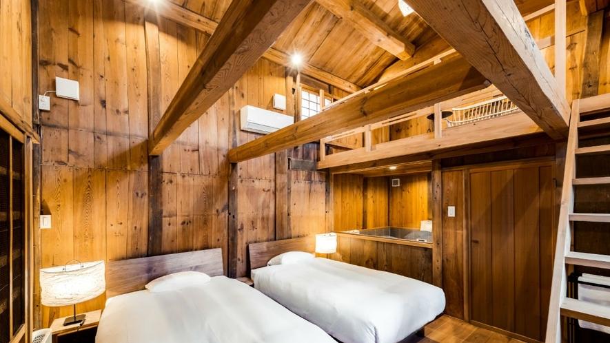 【VMGグランド・福稲102/3名定員】元蔵は木の温もり感じるロフト付きの寝室に