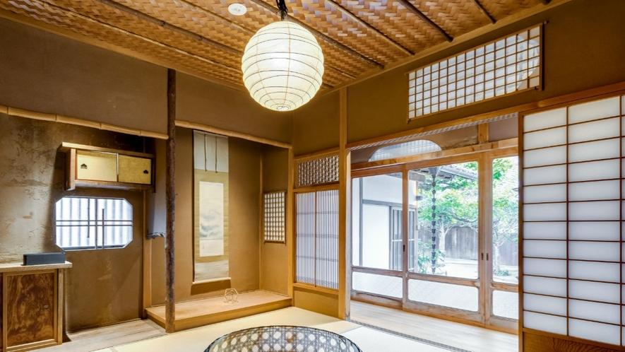 【VMGグランド・福稲102/3名定員】桜の木と竹で編んだ網代天井が美しい元茶室