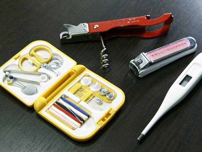 【貸出備品】つめ切り、体温計、ソーイングセット、栓抜き