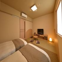 ◆禁煙和洋室 26平米 ベッド120×195センチ+和布団1組 和の雰囲気を感じて下さい♪