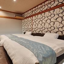 畳のお部屋のツインベッドルームです。