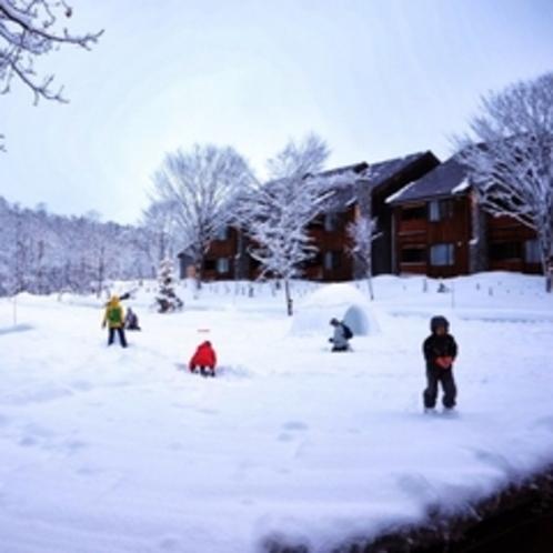 冬の中庭。そりや雪合戦など雪遊びが楽しめます♪かまくらも登場〜