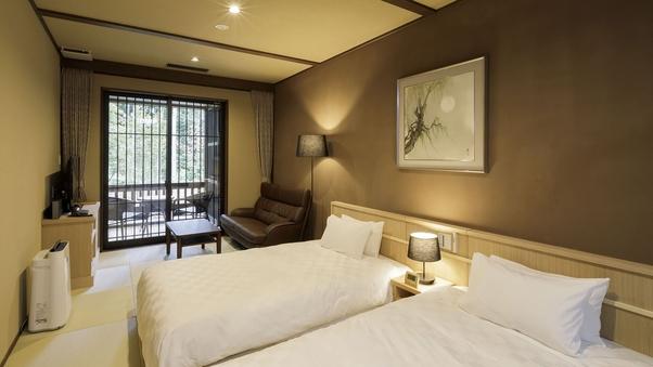 【檜風呂+テラス付き】寛ぎ和室&和室ツインルーム『雅』