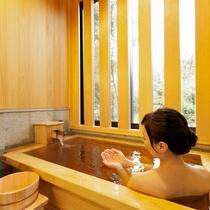 お好きな時に何度でも楽しめる客室の専用風呂。