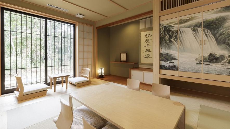 【桶型檜風呂付き】離れのスイートルーム『翠松』/ 縁側の眺めや、バルコニーのある離れ特別室。