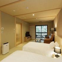 【檜風呂+テラス付き】スタンダード和室ツイン / 和ベッドのあるスタンダードタイプの客室。