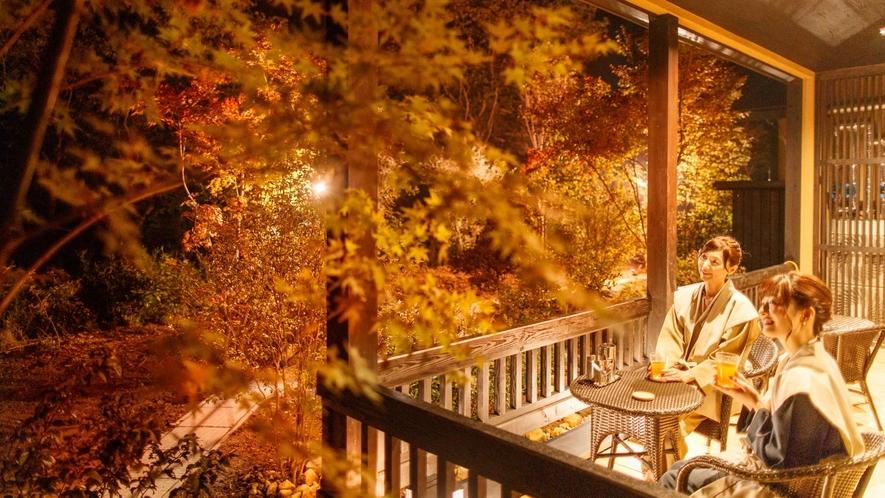 全ての客室にはテラスが付いております、那須の四季彩を寛ぎながらご堪能ください。