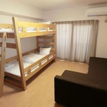 ◆二段ベッド+ソファーベッド(4名様までご利用頂けます)