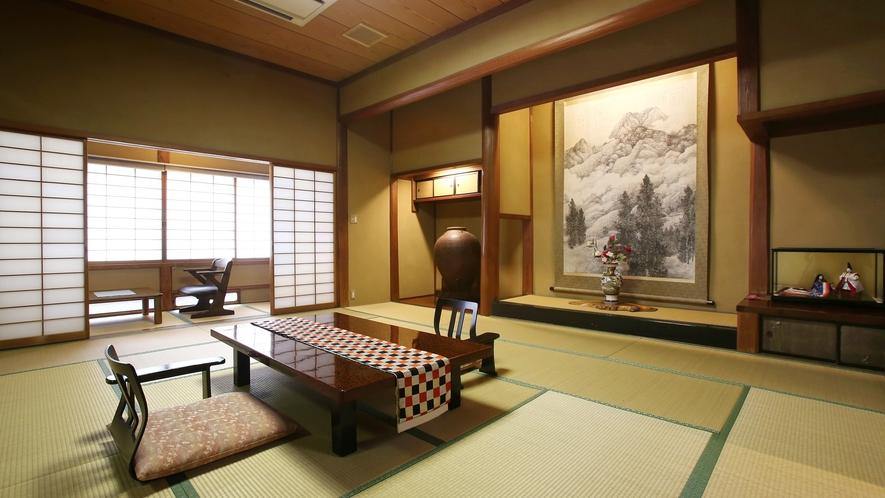 【翠玉】木曽川を望む、総檜造りの特別室。木曽檜を使った総檜造り、由緒ある日本間の特別室。