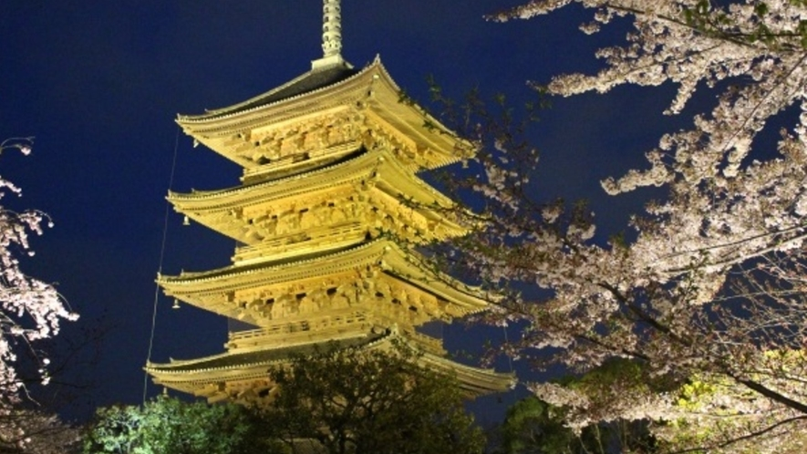 【東寺】京都駅より約1駅。五重塔と桜の幻想的な空間をお楽しみいただけます