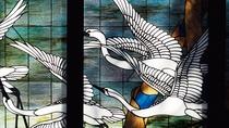 【ステンドグラス】京都市内でよく見る、羽が青味がかったアオサギがモチーフ