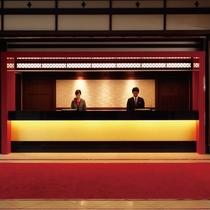 【フロント】格子細工や金屏風をあしらい、大正ロマンの雰囲気を演出します。