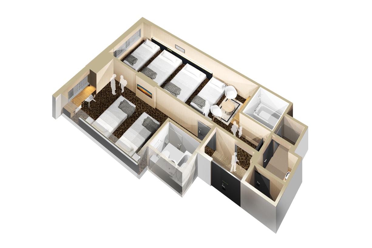 アウトサイドコネクトファミリールーム(6名利用)51.3平米(19.7平米+31.6平米)