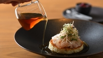 鮮魚の昆布〆を乗せた味噌焼きリゾット