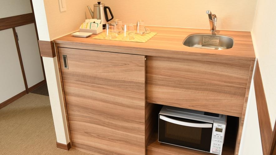 【コーナーデラックスイーストルーム】わんちゃんの食器を洗うのに便利な手洗い場つき