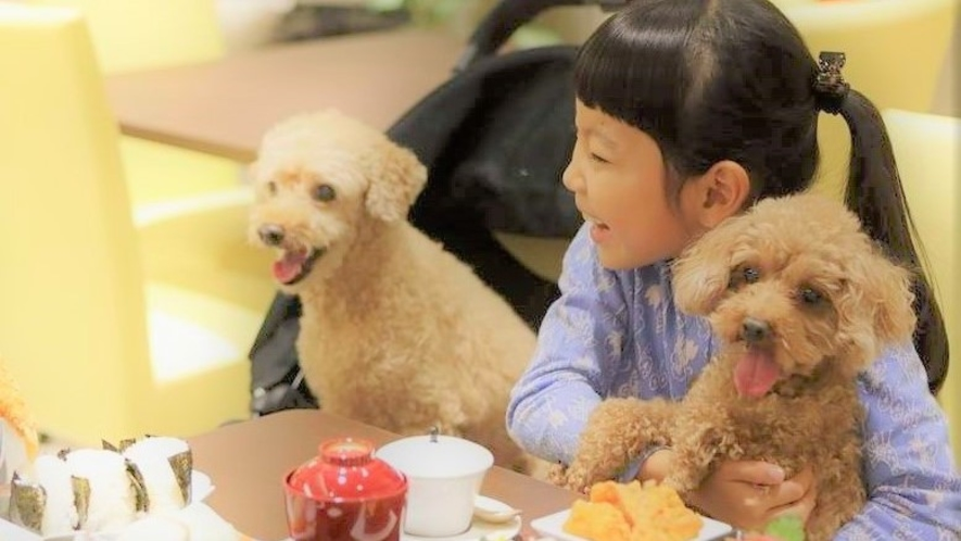 【夕食】海の見えるレストランにわんちゃんも子供たちも思わず笑顔!