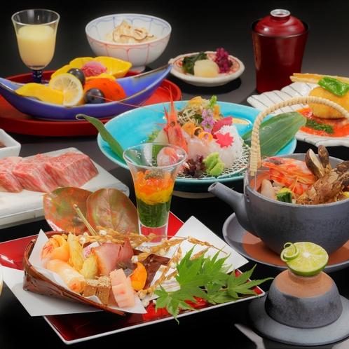 【ご夕食】一例。季節によって食材の変更の可能性があります