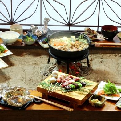 【グレードアップ】ジビエのフルコース♪炉端焼き&鍋で木曽の味を味わい尽くす【信州朝ごはん】