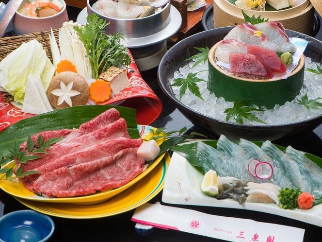 会席料理の刺身や鍋