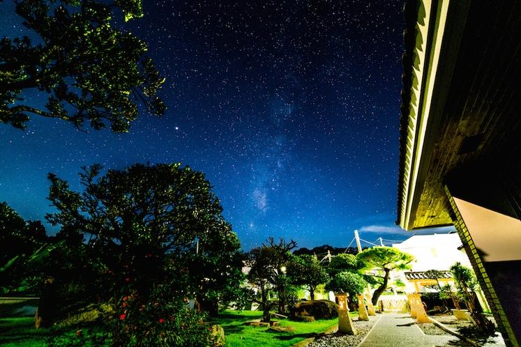 庭園から眺める星空