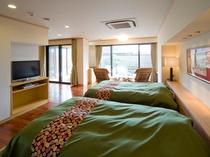 風の棟【露天風呂付】特別和洋室のベットルーム